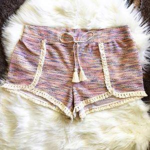 Pants - Boho Rainbow Terry Cloth Tassel Shorts